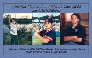 Unique and Simple Any Color 3 Photos Photo Adult Birthday Invitations