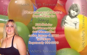 More Colorful Balloons with 2 Photos Photo Adult Birthday Invitations