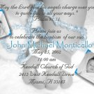 Hands with Rosary for Boy Photo Baptism and Christening Invitations
