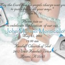 Hands with rosary Boy Girl Photo Baptism and Christening Invitations
