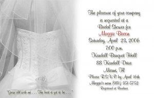 Wedding Dress and Veil BW Personalized Photo Bridal Shower Invitations