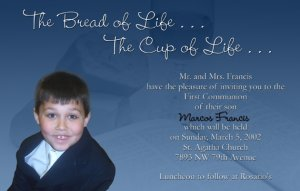 Blues Bible Bread Photo Communion Invitations & Confirmation