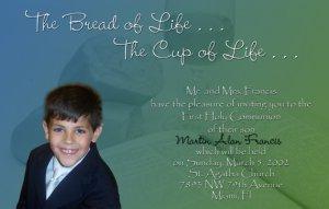 Blue Green Bible Bread Photo Communion Invitations & Confirmation