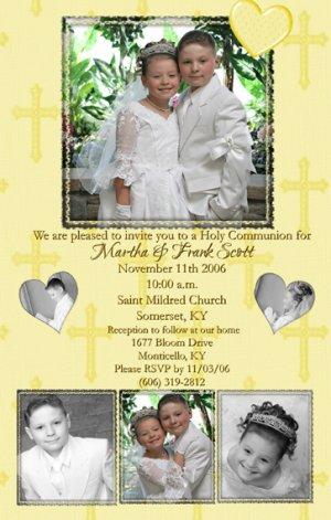 Four Photos Gold Crosses Photo Communion Invitations & Confirmation