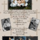 Four Photos Mocha Beige Photo Communion Invitations & Confirmation