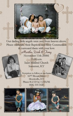 Four Photos Mocha Beige Photo Communion Invitations & Confirmation