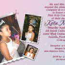 Collage of Photos Pink Lavender Photo Communion Invitations