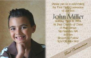 Mocha Coffee and Swirls Photo Communion Invitations & Confirmation