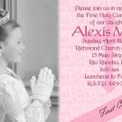 Pink and Swirls Photo Communion Invitations & Confirmation Invitations