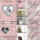 Pink & Silver or Any Color Hearts Folded Photo Wedding Invitations Pkg