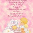 Precious Moments Baby Shower Invitations Baby Girl & Angel pink