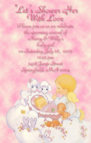 Precious moments baby shower invitations baby girl angel pink filmwisefo