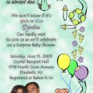 Photo Baby Shower Invitations Stork, Bear or ultrasound photo Green