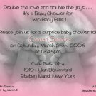 Photo Baby Shower Invitations Baby Feet Twins in Black &  White & Pink