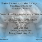 Photo Baby Shower Invitations Baby Feet Twins in Black &  White & Blue