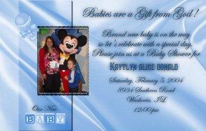 Photo Baby Shower Invitations Elegant Satin Background in Blue