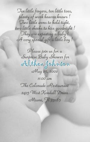Photo Baby Shower Invitations Baby Feet Elegant and Classy Black/White