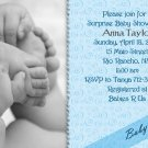 Photo Baby Shower Invitations Hands and Feet Swirls in Blue