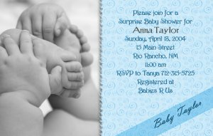 Photo baby shower invitations hands and feet swirls in blue filmwisefo