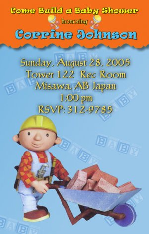 Bob the Builder Baby Shower Invitations Construction Handy Man Boy