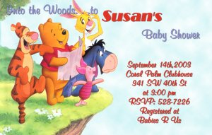 Winnie the Pooh and Friends Baby Shower Invitations Optional Photo