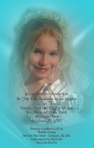 One Main Pic Shading Any Color Photo Communion Invitations