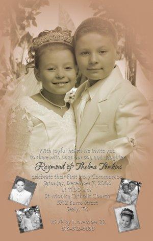 Vintage Sepia Photo Communion Invitations & Confirmation Invitations