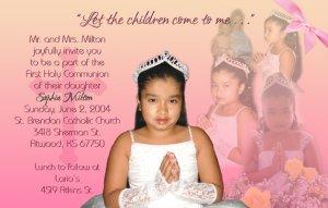 Multi Photo in Pink Peach Photo Communion Invitations & Confirmation