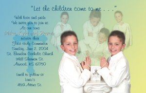Multi Photo in Blue Yellow Photo Communion Invitations & Confirmation