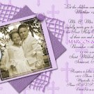 Stripes & Crosses in Purple Photo Communion Invitations & Confirmation