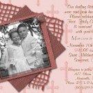 Stripes & Crosses in Berry Photo Communion Invitations & Confirmation