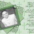 Stripes & Crosses in Mint Photo Communion Invitations & Confirmation