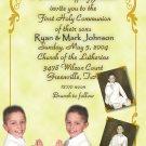 Ornate Gold with Three Pics Photo Communion Invitations & Confirmation