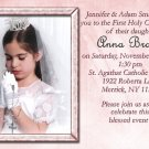Bible & Rosary in Pink Photo Communion Invitations & Confirmation