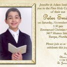 Bible & Rosary in Gold Photo Communion Invitations & Confirmation