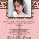 Damask Pink & Brown Photo Communion Invitations & Confirmation