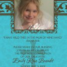 Damask Teal & Brown Photo Communion Invitations & Confirmation