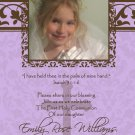 Damask Lavender & Brown Photo Communion Invitations & Confirmation