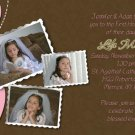Joyful Collage Pink/Brown Photo Communion Invitations & Confirmation
