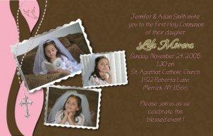 Joyful Collage Pink/Brown Photo Communion Invitations & Confirmation