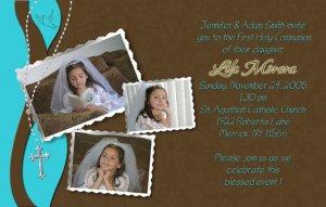 Joyful Collage Teal/Brown Photo Communion Invitations & Confirmation