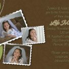 Joyful Collage Sage/Brown Photo Communion Invitations & Confirmation