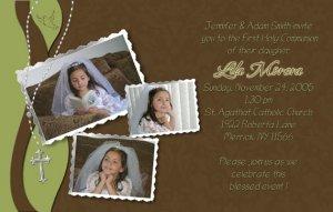 Joyful Collage Sage/Brown Photo Communion Invitations & Confirmation