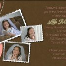 Joyful Collage Coral/Brown Photo Communion Invitations & Confirmation