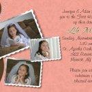 Joyful Collage Brown/Coral Photo Communion Invitations Confirmation