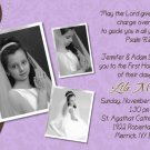 Joyful Collage Brown/Lavender Photo Communion Invitations Confirmation