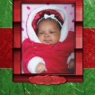 Custom Photo Christmas Cards 5 x 8 Modern Red Frame with Green