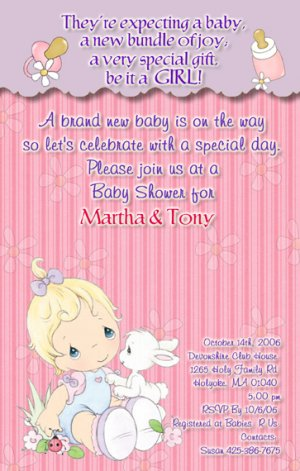 Precious moments baby shower invitations baby girl filmwisefo