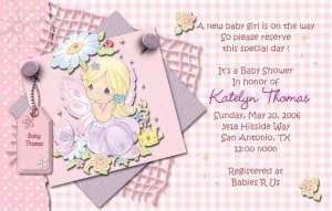 Pink precious moments baby shower invitations filmwisefo