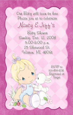 Delicate Pink Precious Moments Baby Shower Invitations